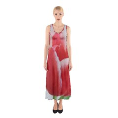 Red Tulip Watercolor Painting Sleeveless Maxi Dress