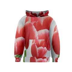 Red Tulip Watercolor Painting Kids  Pullover Hoodie