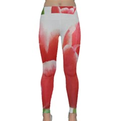 Red Tulip Watercolor Painting Yoga Leggings