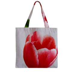 Red Tulip Watercolor Painting Zipper Grocery Tote Bag