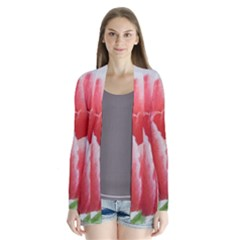 Red Tulip Watercolor Painting Drape Collar Cardigan