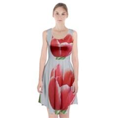 Red Tulip Watercolor Painting Racerback Midi Dress