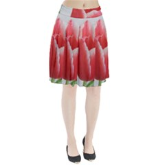 Red Tulip Watercolor Painting Pleated Skirt