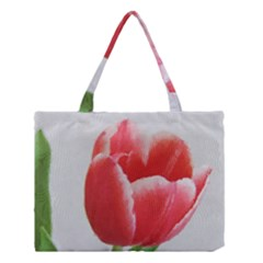 Red Tulip Watercolor Painting Medium Tote Bag