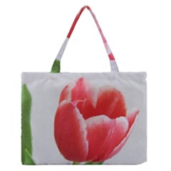 Red Tulip Watercolor Painting Medium Zipper Tote Bag