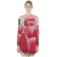 Red Tulip Watercolor Painting Long Sleeve Off Shoulder Dress