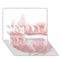 Red Tulip pencil drawing YOU ARE INVITED 3D Greeting Card (7x5)