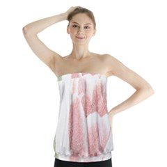 Red Tulip pencil drawing Strapless Top