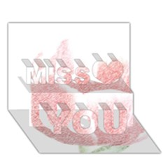 Red Tulip pencil drawing Miss You 3D Greeting Card (7x5)