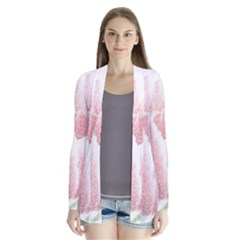 Red Tulip pencil drawing Drape Collar Cardigan