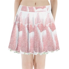 Red Tulip Pencil Drawing Pleated Mini Skirt