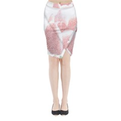 Red Tulip pencil drawing Midi Wrap Pencil Skirt