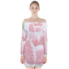 Red Tulip pencil drawing Long Sleeve Off Shoulder Dress