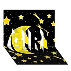 Sleeping moon GIRL 3D Greeting Card (7x5)