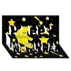 Sleeping moon Happy New Year 3D Greeting Card (8x4)