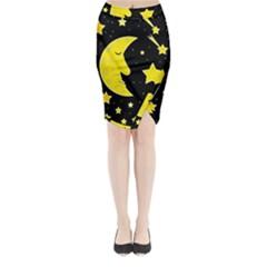 Sleeping moon Midi Wrap Pencil Skirt