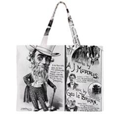 Vintage Song Sheet Lyrics Black White Typography Zipper Large Tote Bag