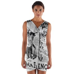 Vintage Song Sheet Lyrics Black White Typography Wrap Front Bodycon Dress