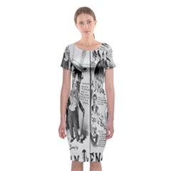 Vintage Song Sheet Lyrics Black White Typography Classic Short Sleeve Midi Dress