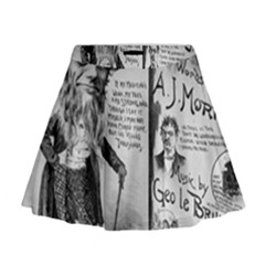 Vintage Song Sheet Lyrics Black White Typography Mini Flare Skirt