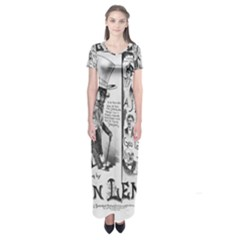 Vintage Song Sheet Lyrics Black White Typography Short Sleeve Maxi Dress