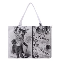 Vintage Song Sheet Lyrics Black White Typography Medium Tote Bag