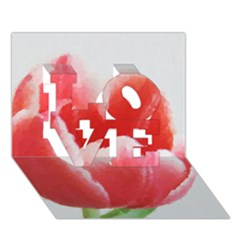 Tulip red watercolor painting LOVE 3D Greeting Card (7x5)