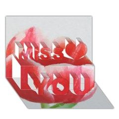 Tulip red watercolor painting Miss You 3D Greeting Card (7x5)