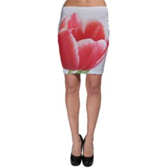 Tulip red watercolor painting Bodycon Skirt