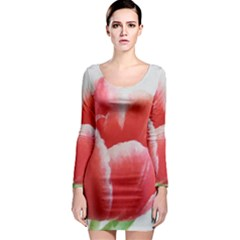 Tulip red watercolor painting Long Sleeve Bodycon Dress