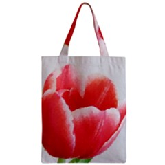 Tulip Red Watercolor Painting Zipper Classic Tote Bag