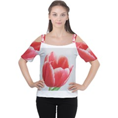 Tulip red watercolor painting Women s Cutout Shoulder Tee