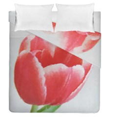 Tulip Red Watercolor Painting Duvet Cover Double Side (queen Size)