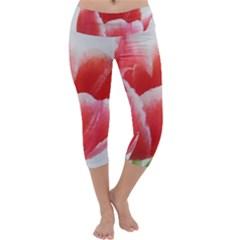 Tulip red watercolor painting Capri Yoga Leggings