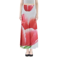 Tulip red watercolor painting Maxi Skirts