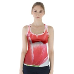 Tulip Red Watercolor Painting Racer Back Sports Top