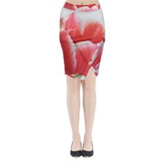 Tulip red watercolor painting Midi Wrap Pencil Skirt
