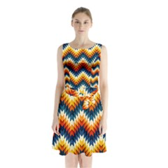 The Amazing Pattern Library Sleeveless Chiffon Waist Tie Dress