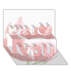 Tulip red pencil drawing art Miss You 3D Greeting Card (7x5)