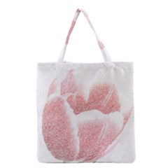 Tulip red pencil drawing art Grocery Tote Bag