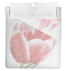 Tulip Red Pencil Drawing Art Duvet Cover Double Side (queen Size)