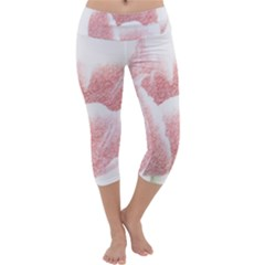 Tulip red pencil drawing art Capri Yoga Leggings