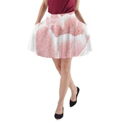 Tulip Red Pencil Drawing Art A Line Pocket Skirt