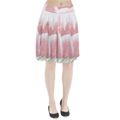 Tulip red pencil drawing art Pleated Skirt
