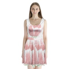 Tulip Red Pencil Drawing Art Split Back Mini Dress