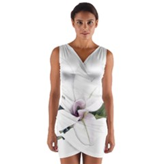 White Magnolia Pencil Drawing Art Wrap Front Bodycon Dress