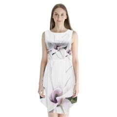 White Magnolia pencil drawing art Sleeveless Chiffon Dress