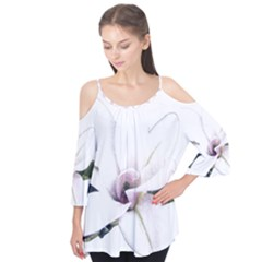 White Magnolia Pencil Drawing Art Flutter Tees