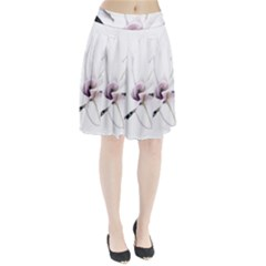 White Magnolia pencil drawing art Pleated Skirt