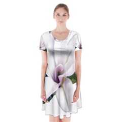 Magnolia Wit Aquarel Painting Art Short Sleeve V Neck Flare Dress